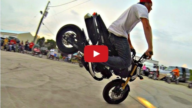 Stunting the Honda Grom at Dude Date 2014. Wheelies, stoppies, and other stunts compilation!