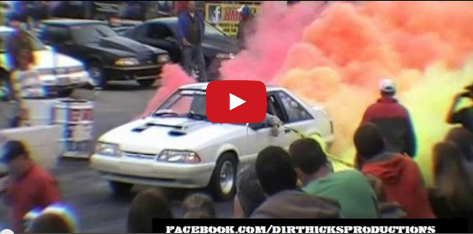 Mustang does multi colored burnout at the NMRA nationals 2012