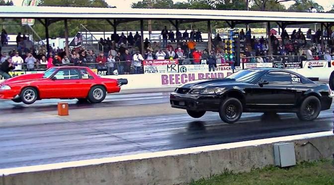 Procharged Mustangs wheelie down Beech Bend Dragway @ NMRA World Finals 2014