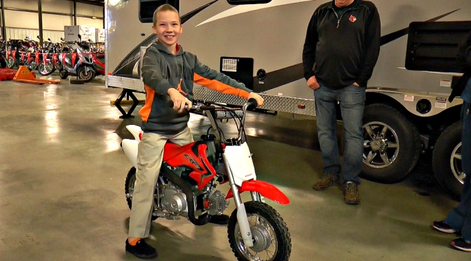 CAMERON GETS A NEW BIKE AFTER HIS PREVIOUS BIKE WAS STOLEN – STATION PARK HONDA – 2015 CRF50